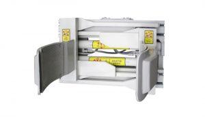 Accesorio de fijación de horquilla Acero blanco Abrazadera de tambor para carretilla elevadora de 55 galones